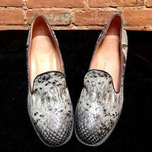 JEFFREY CAMPBELL Grey Snakeskin Heeled Loafers